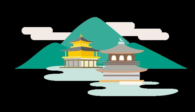 イラスト_京都の金閣寺、山、銀閣寺のイラストが描かれている